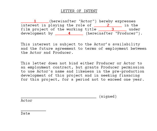 Sample actor letter of intent movie producing film school online a contract is obviously superior but few actors will make a solid commitment without a guarantee that the movie will be made a letter of intent is the spiritdancerdesigns Image collections