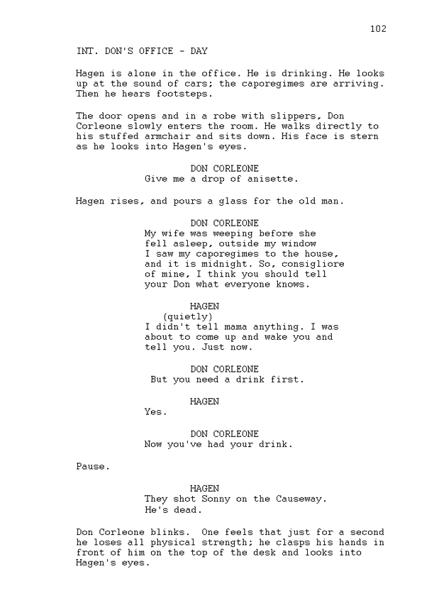 THE GODFATHER SAMPLE SCRIPT PAGE Writing Basics FILM SCHOOL ONLINE – Script Writing